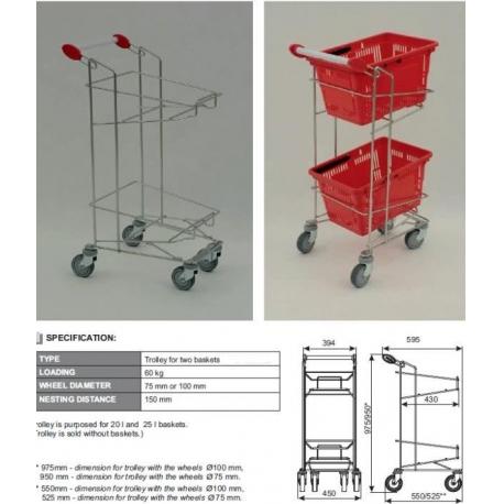 Carucior suport cosuri plastic supermarket